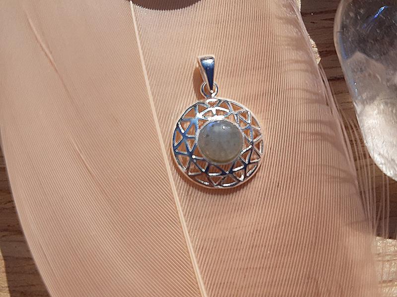 Hanger - Rond - Labradoriet - Zilver - 1,4 cm