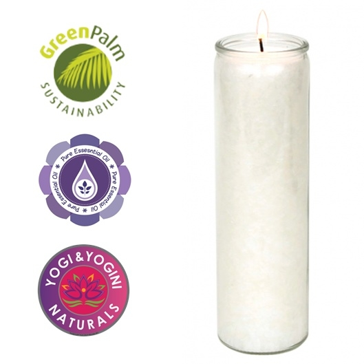 Kaars Wit Greenpalm Stearine 100 Uur In Glas Witte