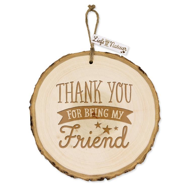 Boomschijf wanddecoratie - Thank you - Boomstam - 13 cm