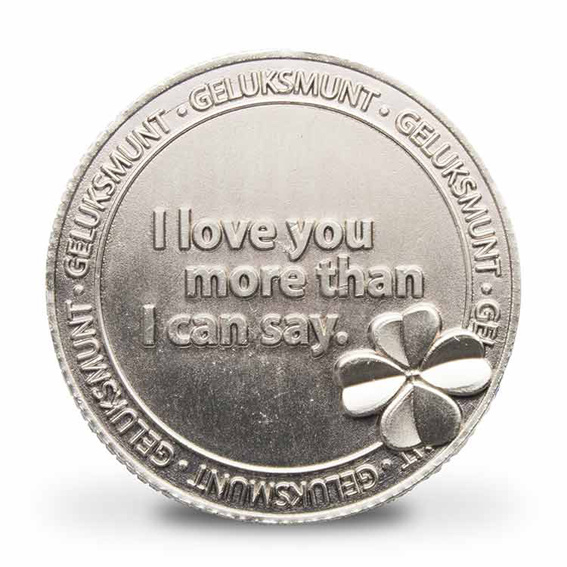 Geluksmunt - Ketting met geluksmunt - I LOVE YOU