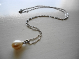 Dames ketting sterling zilver/zoetwater parel
