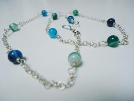 Damesketting handgemaakt zilver met blauw/groene Agaat