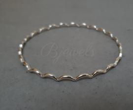 Handgemaakte zilveren stapel/rinkel armband