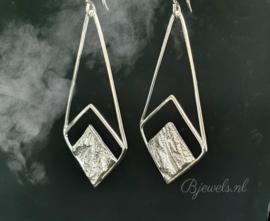"""Handgemaakte zilveren oorbellen """"stone"""""""