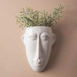 Wand bloempot 'Mask long' wit glazuur