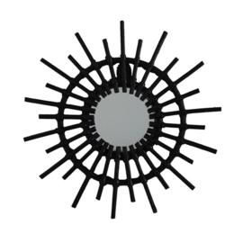 Rattan spiegel 'Zon' zwart
