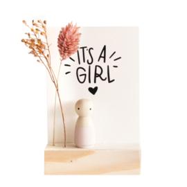 Cadeaudoosje houten poppetje 'It's a girl'
