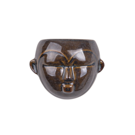 Wand bloempot 'Mask round' bruin
