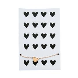 Enkel / armbandje hartje goud op kaart 'Hearts'