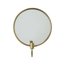 Ronde spiegel met kandelaar goud