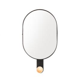 Ovale spiegel met haak zwart