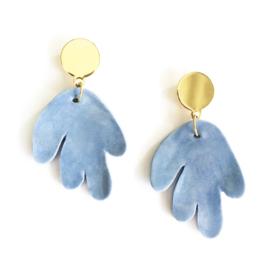 Oorbellen porselein 'Coral blue'
