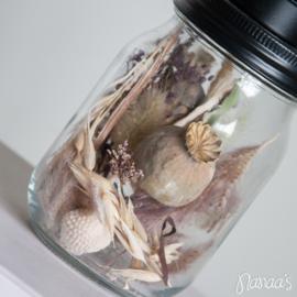 Kandelaar waxine droogbloemen mauve