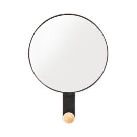 Ronde spiegel met haak zwart