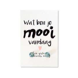 Oorbellen op kaartje 'Wat ben je mooi vandaag' mint