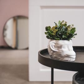 Apekop plantenpot wit