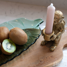 Glazen schaaltje blad groen 'Vinax' groot