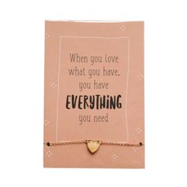 Enkel / armbandje hartje goud op kaart 'Everything'