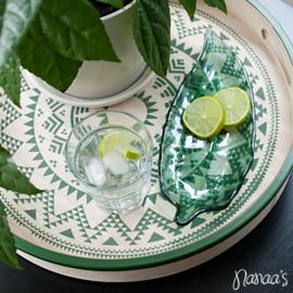 Glazen schaaltje blad groen 'Tillou' groot