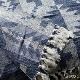 Plaid 'Manzi' donkerblauw