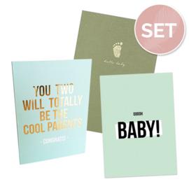 Set kaarten 'Baby mint' (3 st.)
