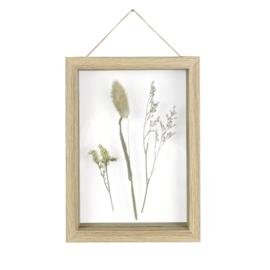 Fotolijst met droogbloemen eiken