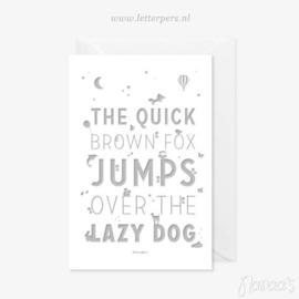 Letterpers kaart 'The quick brown fox'