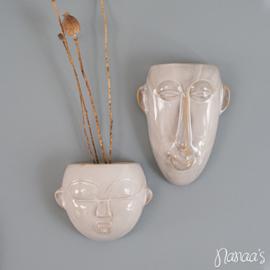 Wand bloempot  'Mask round' wit