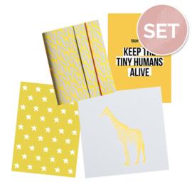 Set kaarten (3 st.) & notitieboekje 'Giraf'