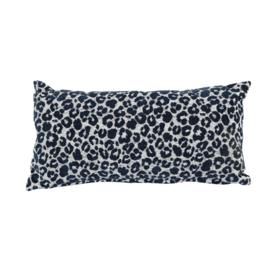 Kussen 'Leopard' donker blauw