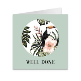 Wenskaart jungle 'Well done'