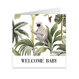 Wenskaart jungle 'Welcome baby'