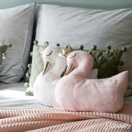 Kussen Zwaan met kroontje roze