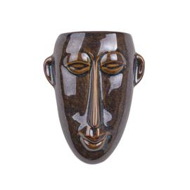 Wand bloempot 'Mask long' bruin