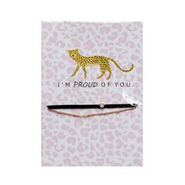 Armbandje op kaart 'Luipaard' goud/zwart