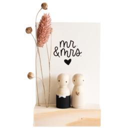 Cadeaudoosje houten poppetje 'Mr & mrs'