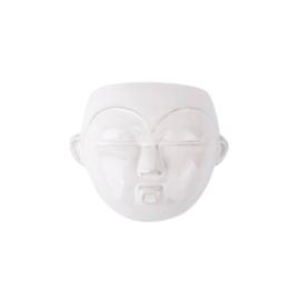 Wand bloempot 'Mask round' wit glazuur
