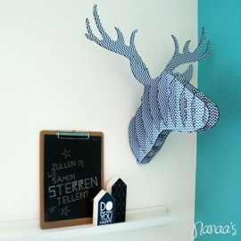 Wall hanger 'Rendier' blauw/wit