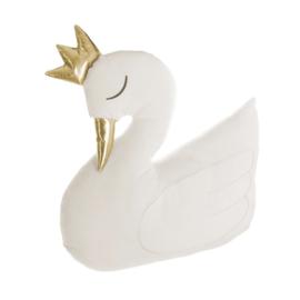 Kussen Zwaan met kroontje wit
