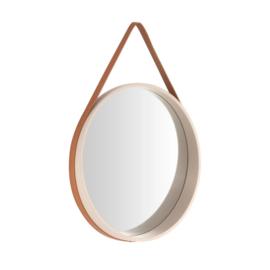 Strap spiegel rond creme/bruin