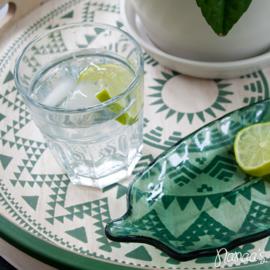 Glazen schaaltje blad groen 'Vinax'