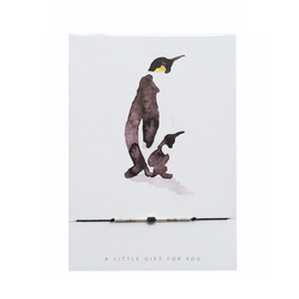 Armbandje op kaart 'Pinguin' zilver/zwart