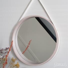 Strap spiegel rond taupe/wit