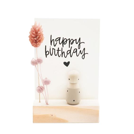 Cadeaudoosje houten poppetje 'Happy birthday'