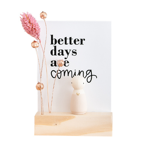 Cadeaudoosje houten poppetje 'Better days'