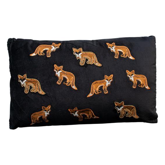 Kussen 'Fox' velvet zwart