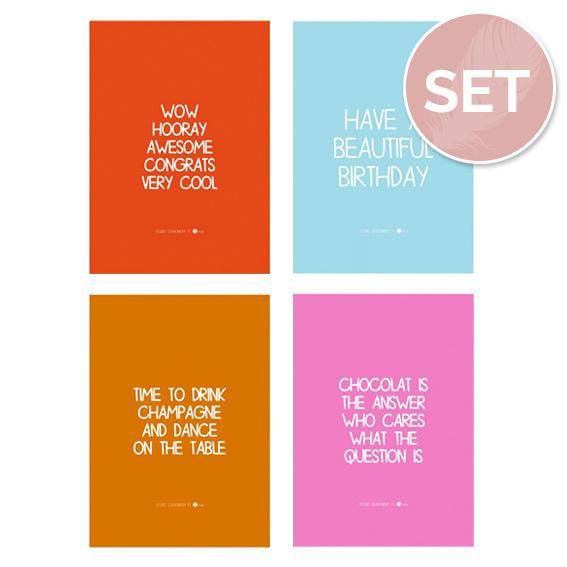Set kaartjes 'Colors' (4 st.)