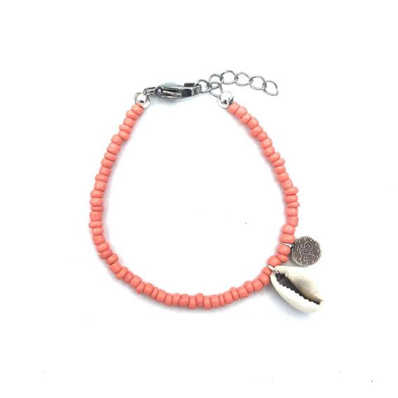 Armbandje 'Shell coins' coral