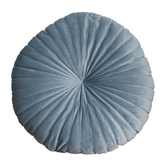 Kussen velvet rond grijsblauw
