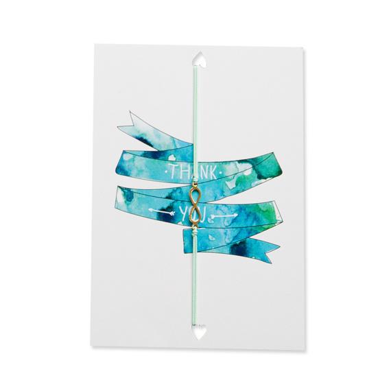 Armbandje elastiek op kaart 'Thank you'